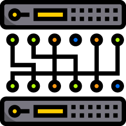 Server and switch icon for Camb IT Support's IT infrastructure page